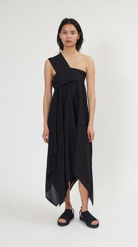 Issey Miyake Black Square Petal One-Shoulder Dress - Black