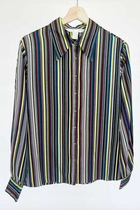 Vintage Silk Striped Blouse - Multicolor