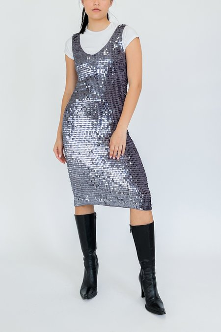 Vintage Sequin Knit Dress - Silver