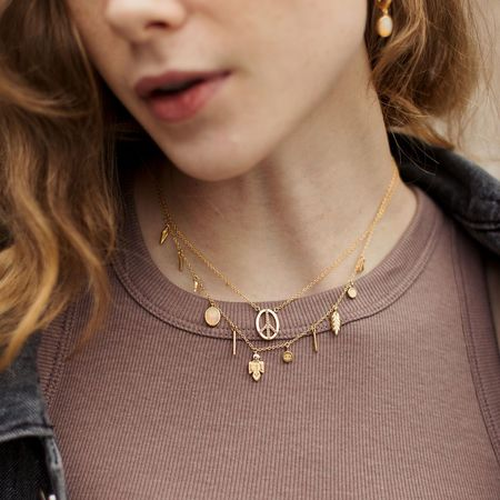 Sierra Winter Jewelry Peace Necklace - Gold Vermeil/White Topaz