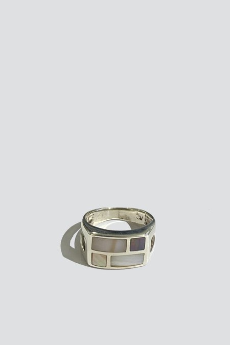 Vintage Checkered Pearl Ring - Sterling Silver
