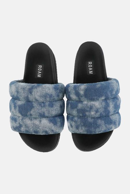 Roam Women's Puffy Slide Shoes - Denim Shibori Cloud Wash