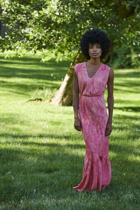 KES Cap Sleeve Slip Dress with Ruffle - Organic Coral