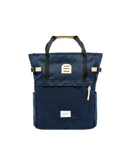 Sandqvist Roger Backpack - Navy/Natural Leather