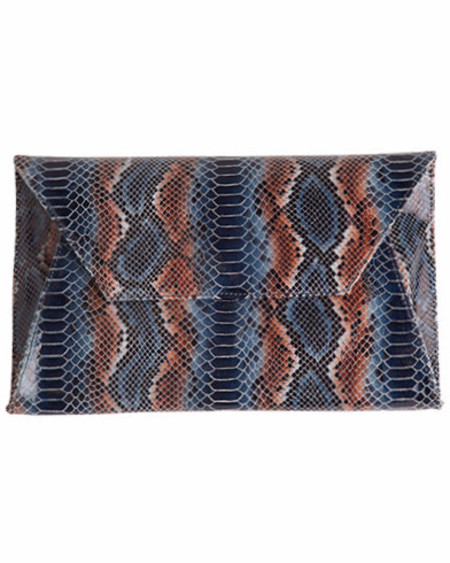 Oliveve cleo envelope clutch in navy stripe cobra cow leather