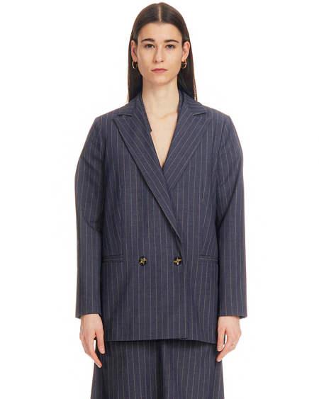 Ganni Striped Pinstripe Jacket - Blue Stripe