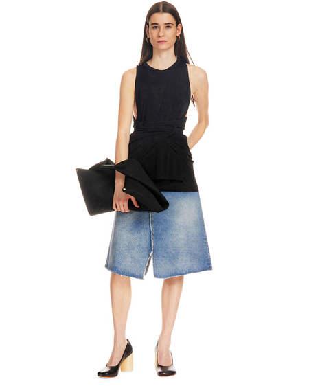 MM6 Maison Margiela Two-tone Denim Skirt - black/blue