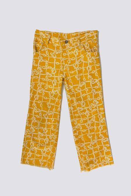 Vintage Hot Orange Knot Crop Pant - orange