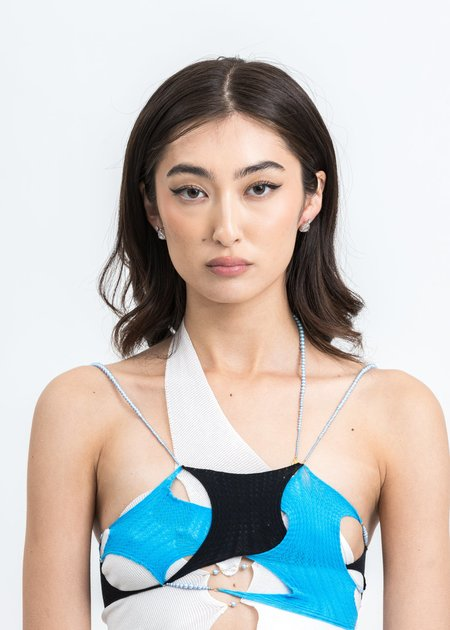 Department White Water Drop And Chain Earring - White Gold