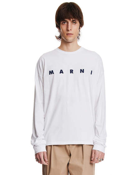 Marni Long Sleeves with Logo Sweater - White