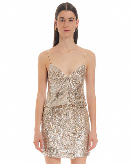 Rotate Sequins Tank Top - Silver