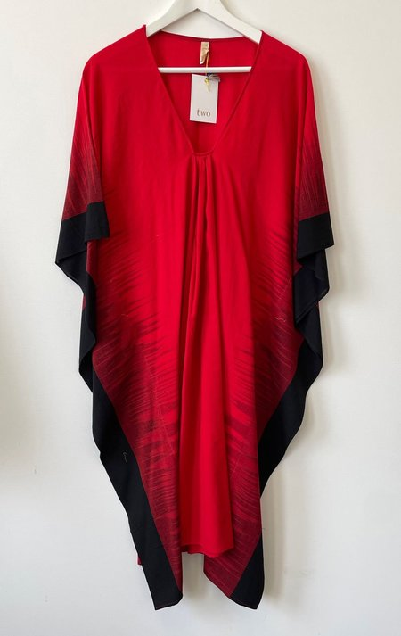 Two Soft Cotton Ikat Edge Caftan - Red/Black