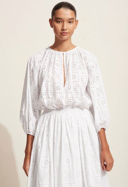 Matteau Croched Broiderie Day Dress - White