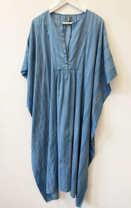 Two Washed Bib caftan-one of a kind dress - two tone indigo blue