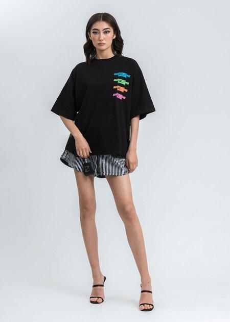 we11done Multi Color Logo T-Shirt - Black