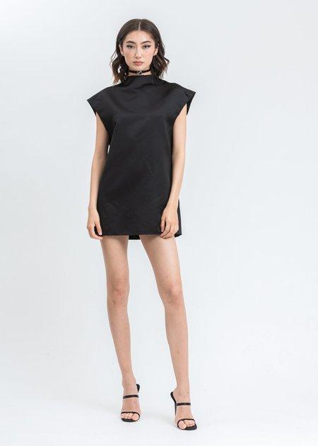 we11done Sleeves Oversize Choker Dress - Black
