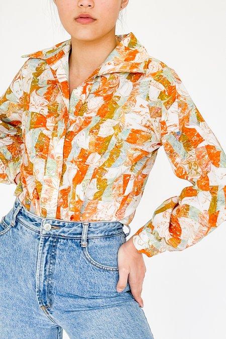 Vintage Marbled Swirl Block Print Shirt - multi