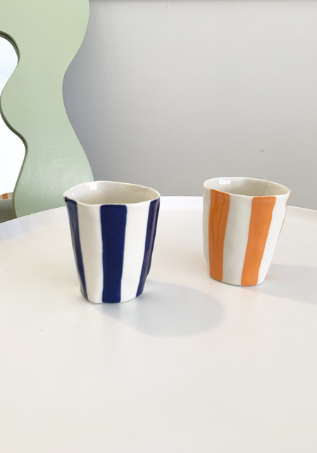 Isabel Halley Striped Wine Cup - Orange/Cobalt Blue