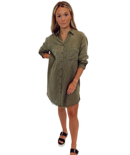 Lola Mara Causal Denim Shirt Dress - Olive
