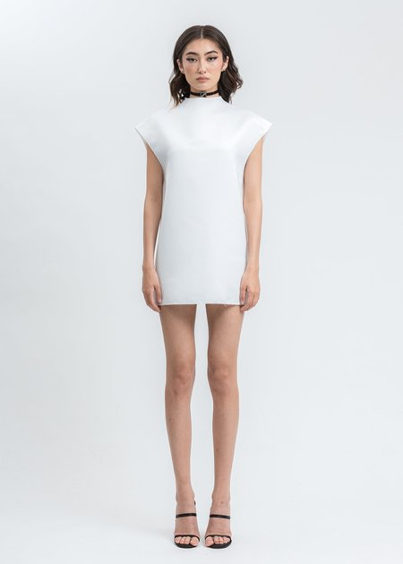 We11Done Sleeves Oversize Dress With Choker - White