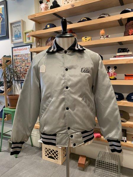 Vintage Tilted Brim 80s Satin Varsity Windbreaker Jacket - Silver/Black/White