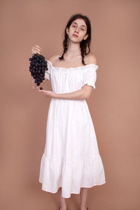 Meadows Fern Midi Dress - White Embroidery