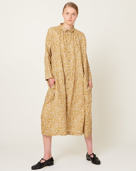 ICHI ANTIQUITES Floral Linen Dress - Camel