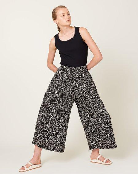 ICHI ANTIQUITES Floral Linen Pants - Black