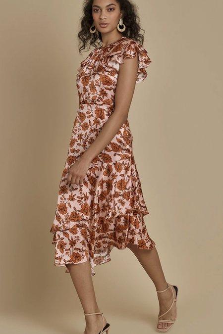 Christy Lynn Silk Claudette Dress - Camelia