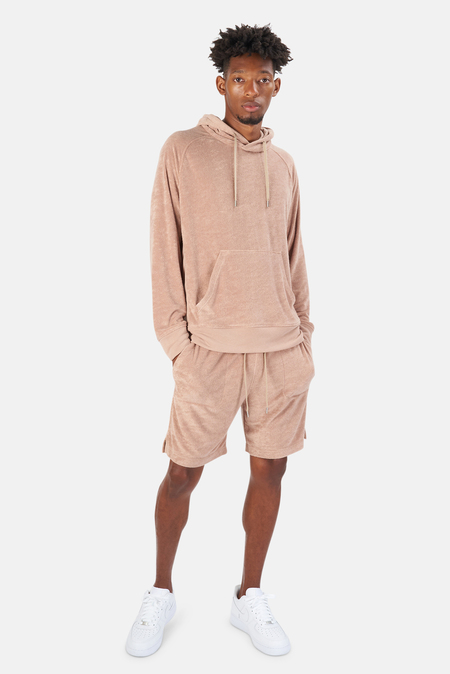 Blue&Cream Poolside Terry Pullover Hoodie Sweater - Camel