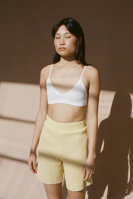 permanent vacation Ritual Flared Shorts -Yellow Gingham