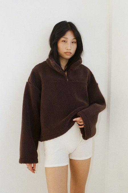 SISTER Coco Pullover Sherpa Jumper -Chocolate