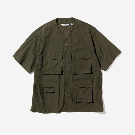 Uniform Bridge Cardigan Short-Sleeve Shirt - Khaki Green