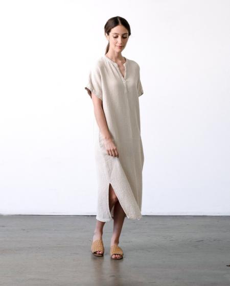 It Is Well L.A. Organic Crinkled Gauze Dress - Peachy Tan