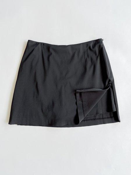 Vintage Side Zipper Mini Skirt - Black