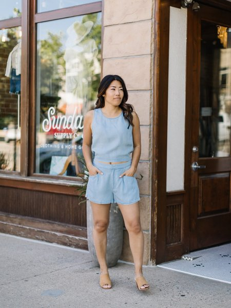 Saltwater Luxe Tie Back Tank - Chambray