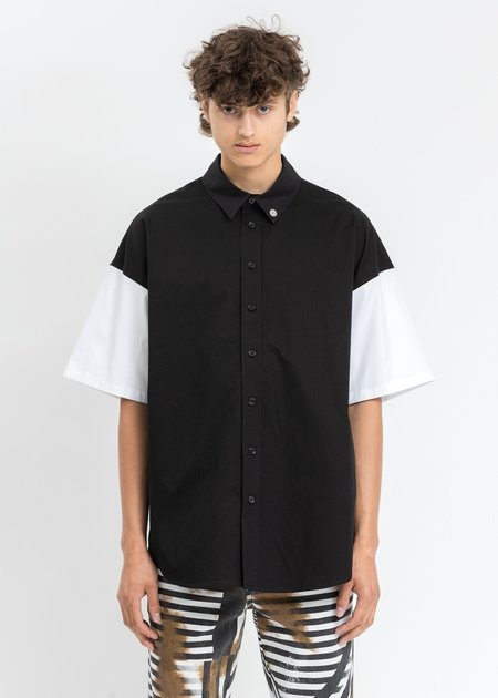 """we11done 'W11D"""" Embroidered Short Sleeve Shirt - Black"""