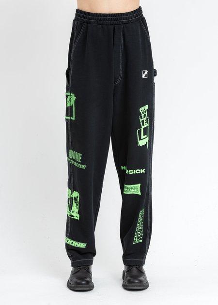 we11done Logo Print Jersey Carpenter Pants - Black