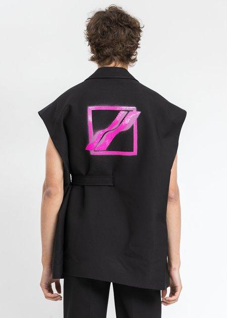 we11done Print Spangle Decoration Tailored Vest - Black