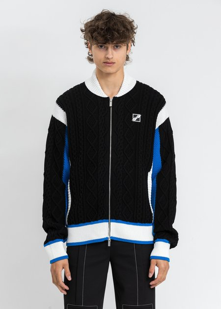 we11done CAR Jacquard Patched Cable Knit Jacket - Multi