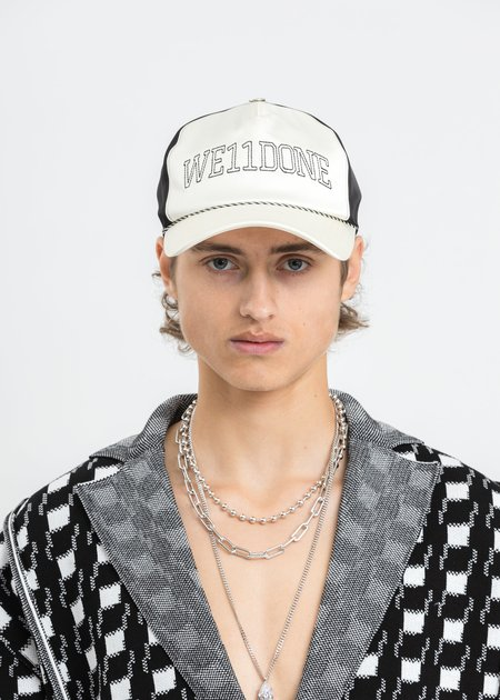 we11done Lettering Satin Cap - Ivory