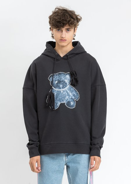 we11done Pearl Necklace Teddy Hoodie - Charcoal