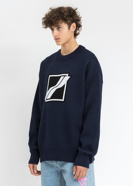 we11done Logo Jacquard Knit Pull Over - Navy Square