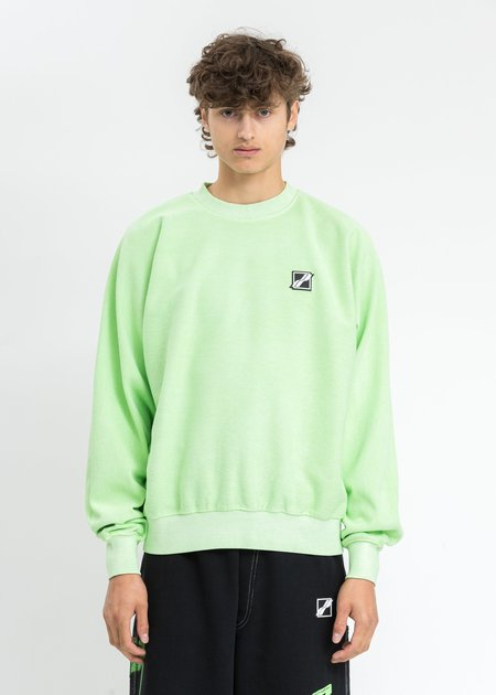 we11done Big Lettering Sweater - Neon Green