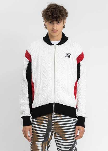 we11done Spand Jacquard Patched Cable Knit Jacket - Mix