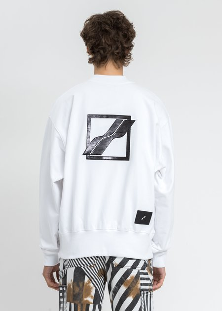 We11done Logo Embroidered Henley Sweater - White