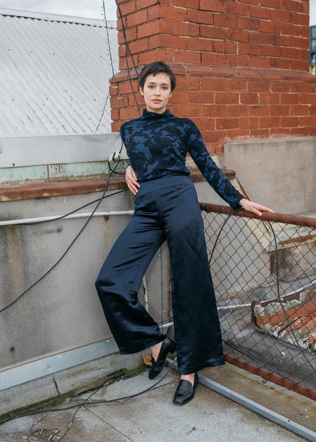 FME Apparel Checkmate Silk Satin Pant - Midnight Blue