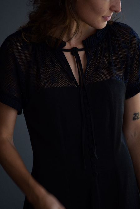 No.6  Cupro with Japanese Embroidered Lace Birdie Dress - Black