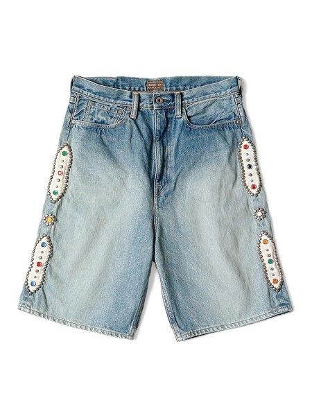 Kapital Studded Remake 14oz Denim 5P Shorts - Indigo