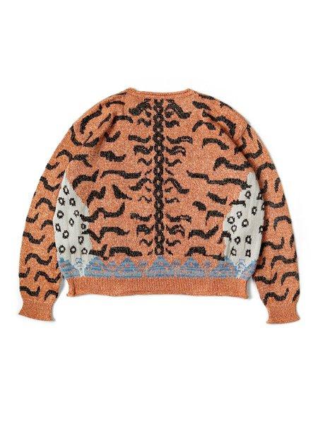 Kapital 7GLinen Nepal Tiger Crew Sweater - Orange